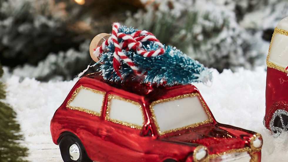 'Coming Home For Christmas' Pair Red Mini Style Car Glass Bauble