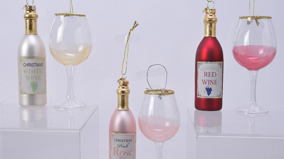 Wine Glass & Bottle Glass Bauble Pair - Choose Red, White or Rose