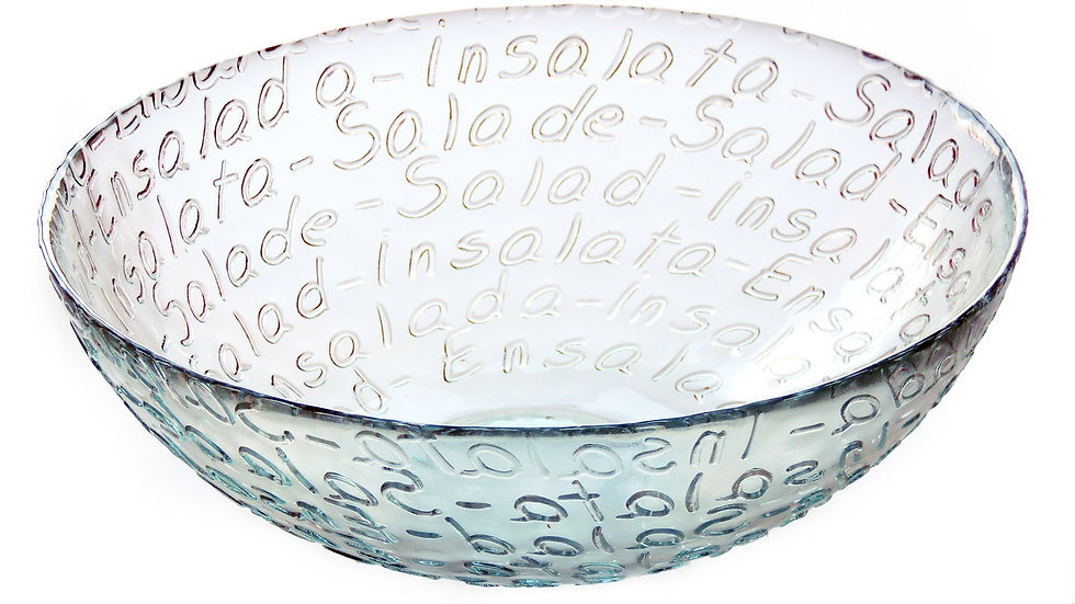 Mediterranean Recycled Large Glass Salad Bowl