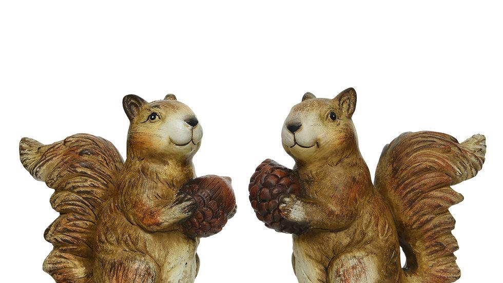 Pair Cute Autumn Squirrels - Holding Acorn & Pine Cone