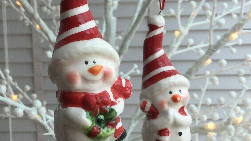 Set 2 x Snowman Ceramic Pottery Hanging Christmas Tree Baubles Decorations