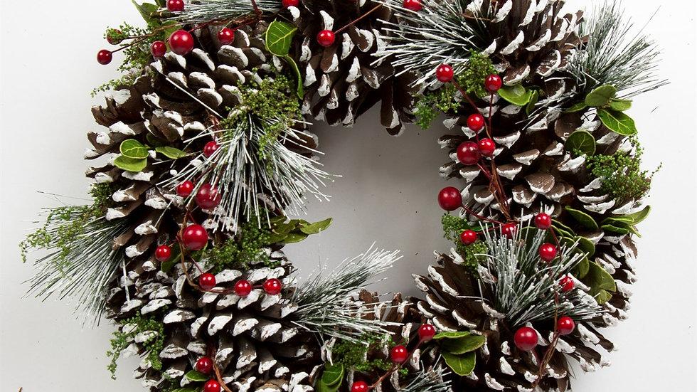 Snowy Pinecone & Berry Wreath 30cm.