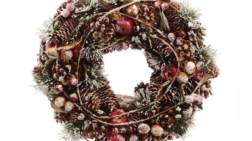 Christmas Woodland Wreath Apples, Pinecones, Rose hips, Berries - 33cm