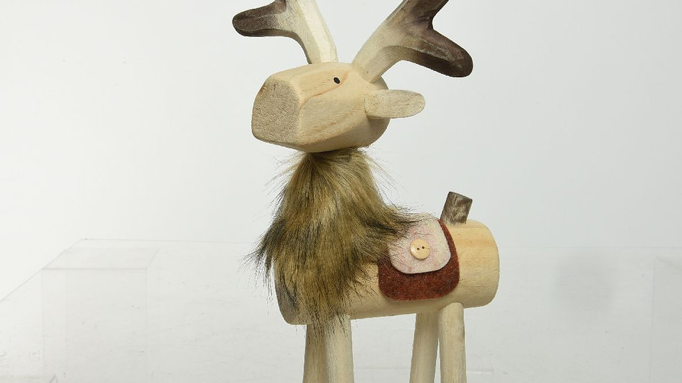 Christmas Standing Wooden Log Style Reindeer With Faux Fur - 19 x 30 x 50cm