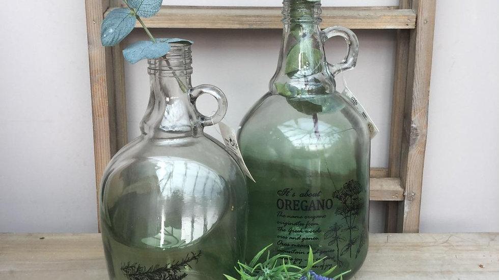 Green Glass Demijohn Bottles - Oregano / Rosemary