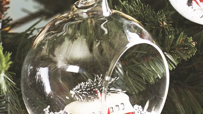 'Coming Home For Christmas' Open Glass Clear Bauble Camper Van Inside.
