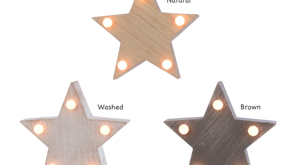 Wooden Block Star - LED Light Lamp - Nite Lite -