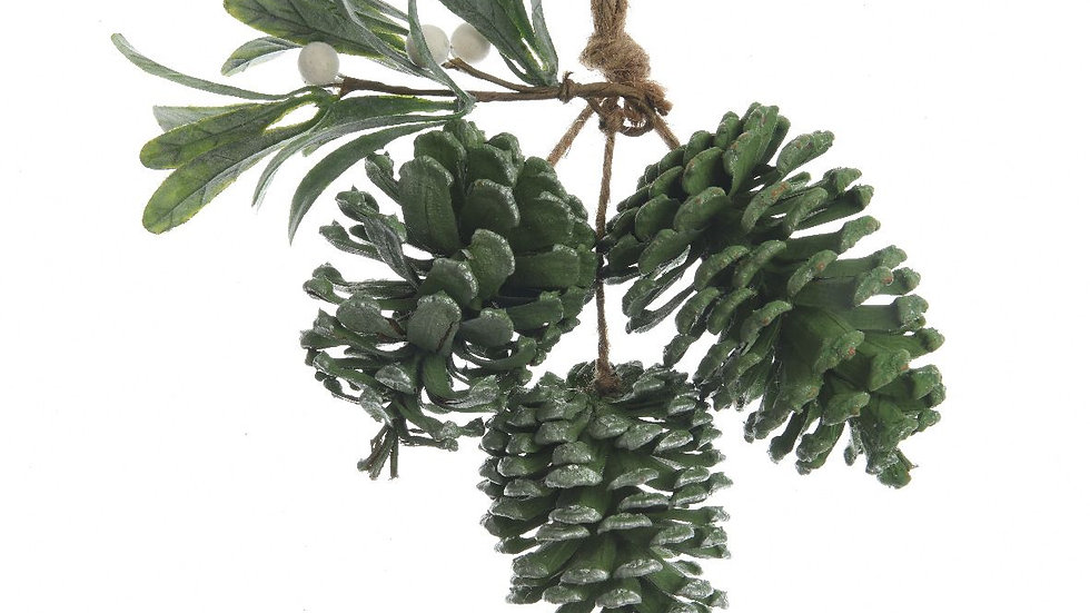 Green Pinecone & Mistletoe Hanging Decoration