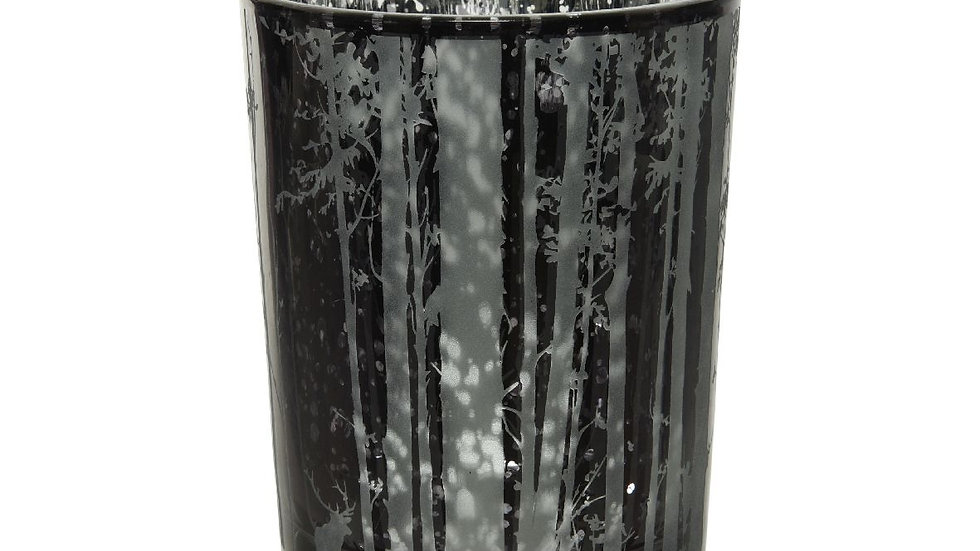 Midnight Forest Reflective Glass Tea Light Candle Holder Forest - 10  x 12.5cm