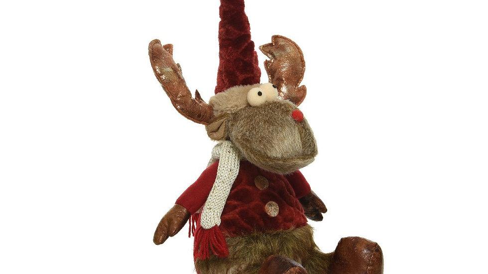Sitting Reindeer Plush Shelf Sitter / Door Stop Wearing Red Velvet Jacket & Hat