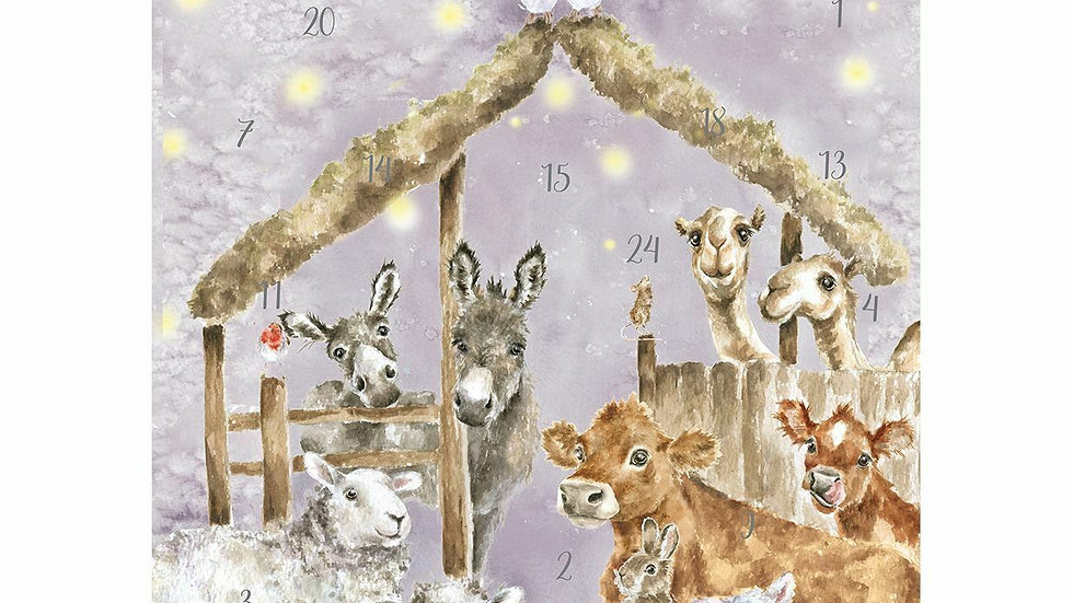 Wrendale Designs 'Away In A Manger' Traditional A4 Advent Calendar Card