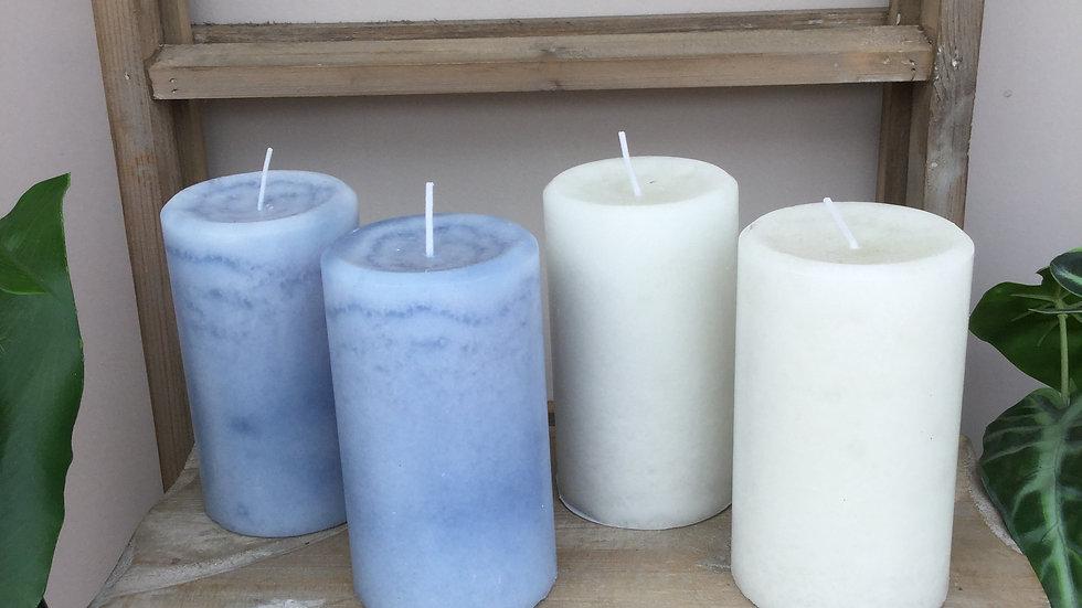 Pair Coastal Wax Pillar Candles 12 x 7 cm