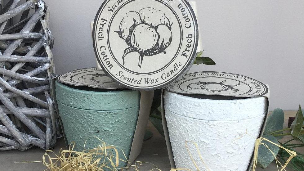Cotton Linen Scented Wax Lidded Pot Candles