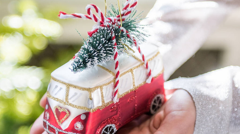 'Coming Home For Christmas' Red Camper Van Style Glass Bauble