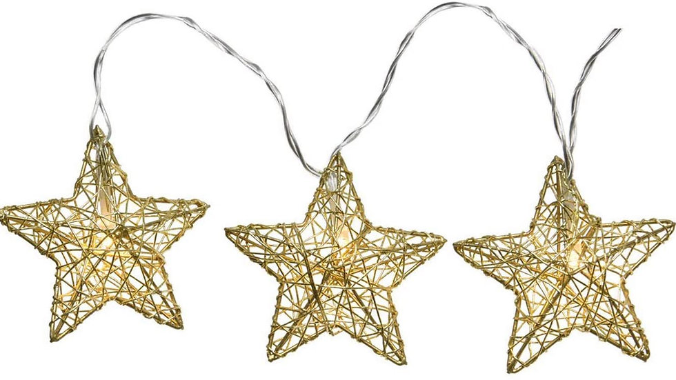 Gold Metal Mesh Star String Fairy Lights Battery Operated Warm White Led's 135cm