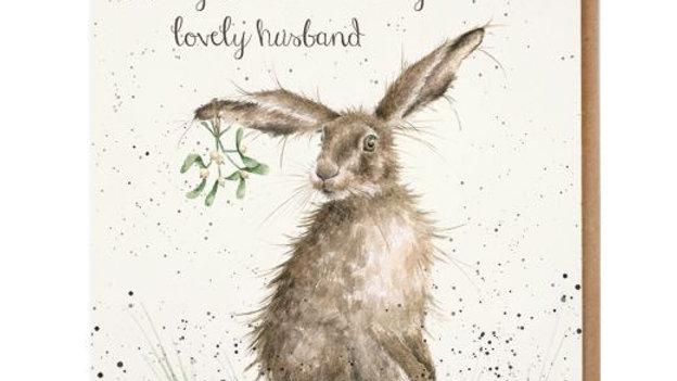 'Lovely Husband' Wrendale Hare Christmas Card