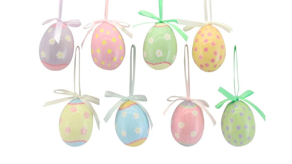Gisela Graham Easter Decorations - Set Of 8 Pastel Eggs