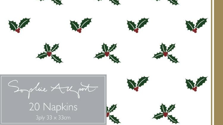 Holly & Berry Paper Napkins 30pk