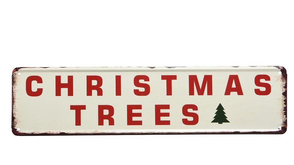 "RETRO TIN SIGN ""CHRISTMAS TREE'S"" Christmas Festive Holiday Rustic Metal Plaque"