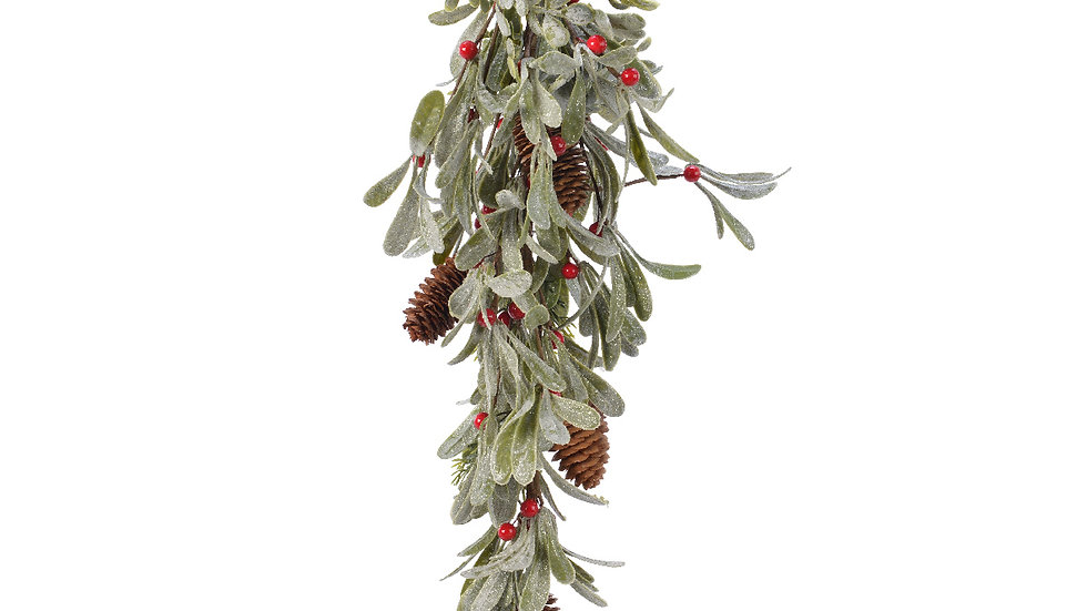 Frosted Mistletoe & Red Berry Hanging Foliage Bunch With Silver Glitter Finish