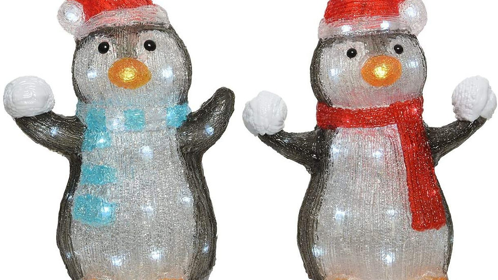 Outdoor Acrylic Led Snowballing Christmas Penguin Pair - 36cm