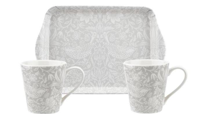 Morris and Co for Pimpernel Pure Morris Strawberry Thief Mug & Tray Set