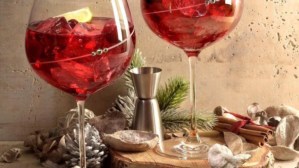Portmeirion Auris Crystal Pink Gin Glasses Set Of 2
