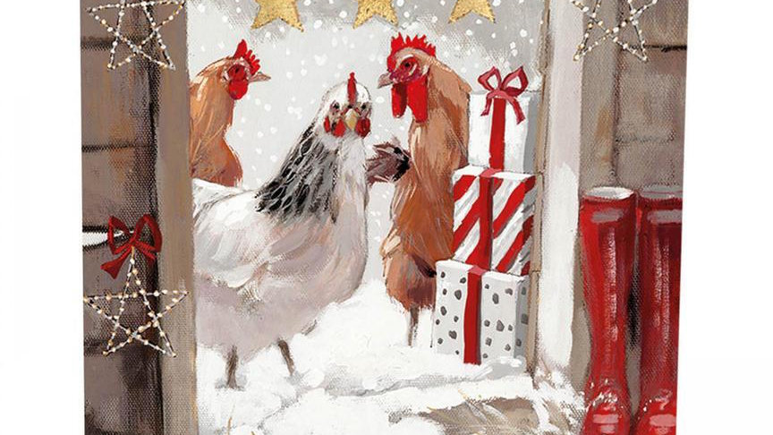Three French Hens - Christmas Chickens - Shelter Charity Christmas Cards