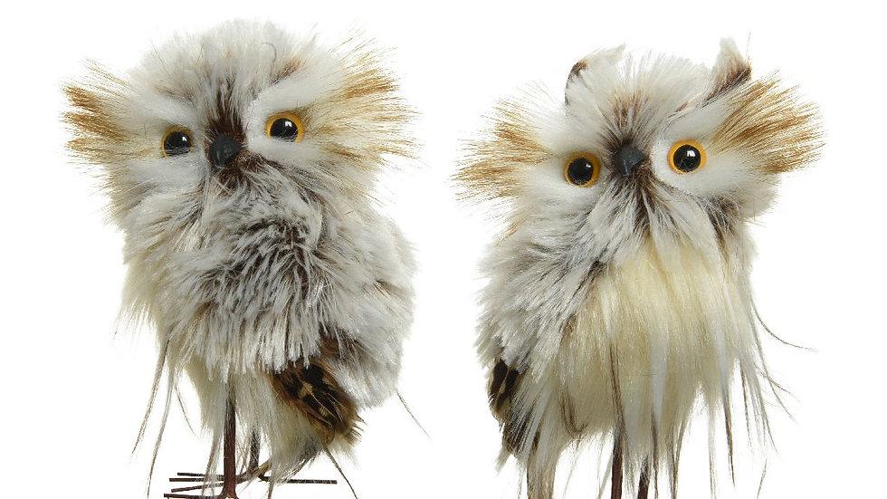 Pair Artificial Fluffy Owls - Woodland White, Grey & Beige - 6 x 7 x 12cm