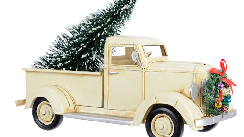 Retro Vintage Metal Christmas Cream Pickup Truck/Red Old VW Car Ornament