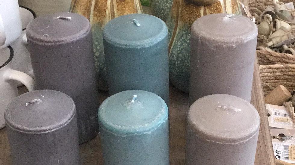 Pair Coastal Pillar Candles- 10cm