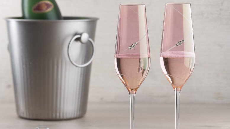 Portmeirion Auris Crystal Pink Champagne Flute Glass Set of 2