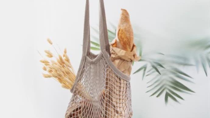 Dove Grey Eco Cotton String Shopping bag - 60 x 30cm