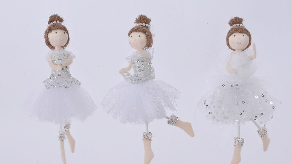 3 Ballerina Dolls Hanging Christmas Decorations - White & Silver Organza Skirts