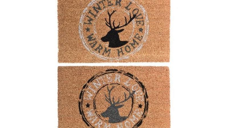 Natural Coir Doormat Cosy Home Deer Design - 60 x 40cm