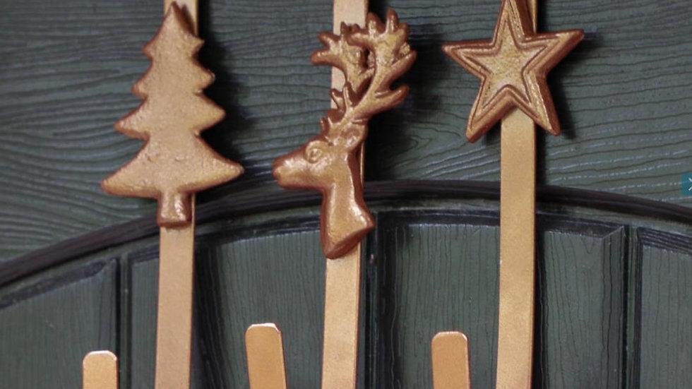 Bronzed Metal Christmas Wreath Door Hanger