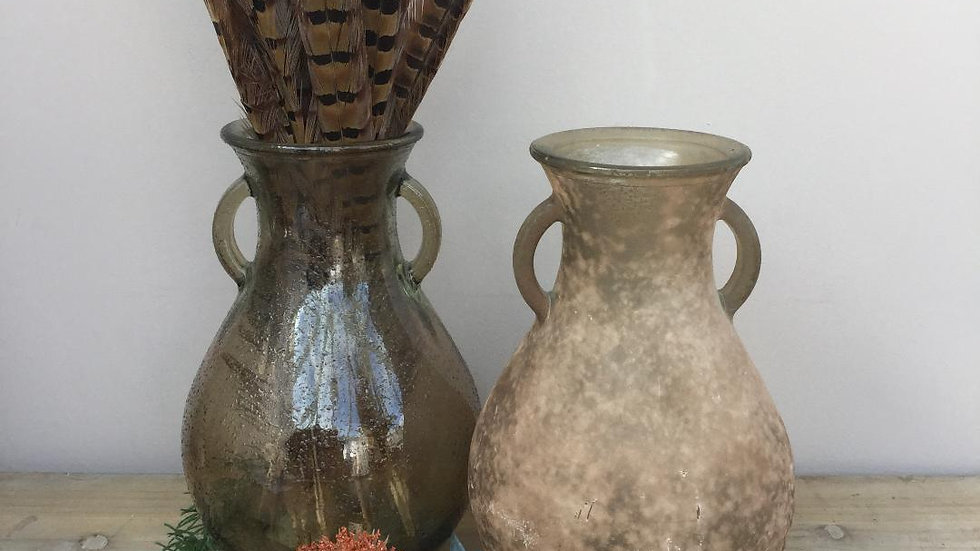 100% Recycled Glass Vase - 2 Colour/Design Options