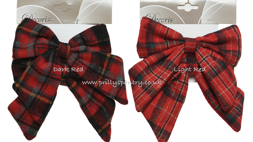 2 Large Red Tartan Cheque Christmas Tree Bows With Clips Thick Fabric 15 x 16 cm