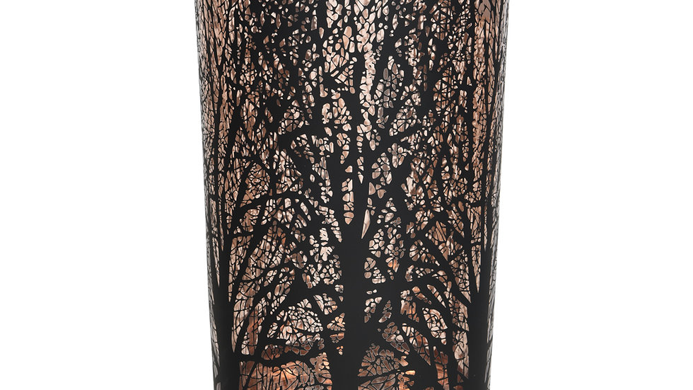 Autumn Forest Glass Tea Light Candle Holder Reflective Silhouette 10 x 12cm