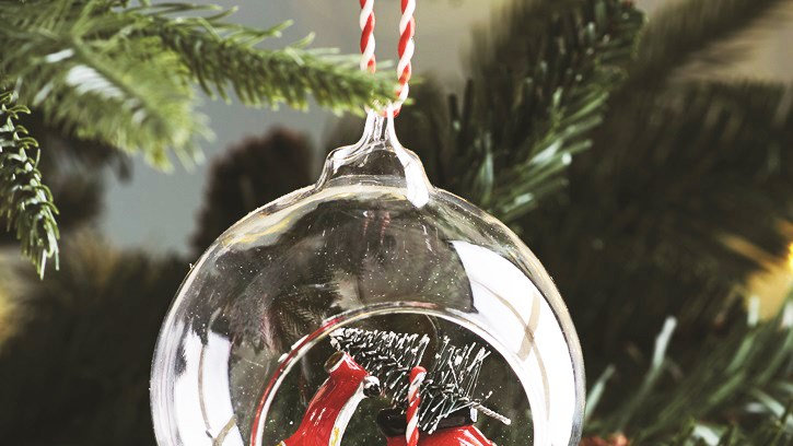 'Coming Home For Christmas' Open Glass Bauble With Scooter Inside