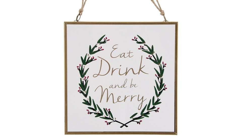 'Eat, Drink & Be Merry' Glass Frame Plaque Hanging Decotion