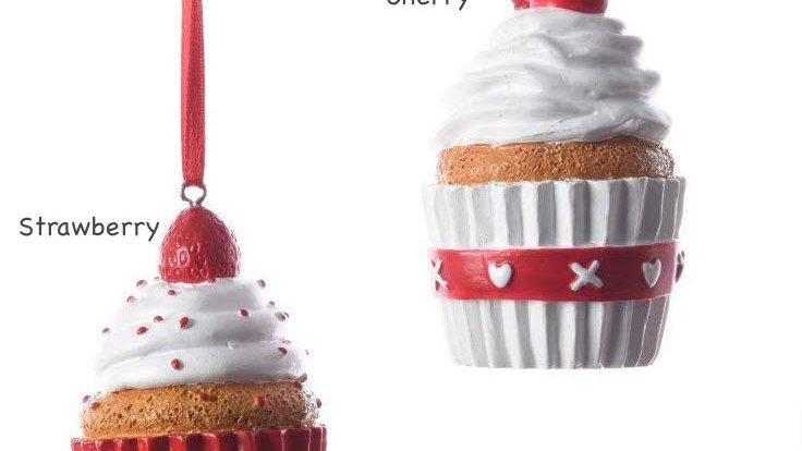 Pair Red & White Mini Cupcake Christmas Tree Bauble Decorations