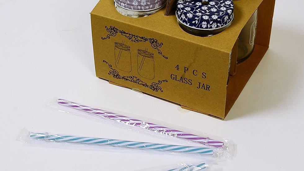 Set 4 Summer Drinking Jam Jars With Straws