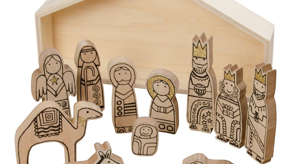 Wooden Nativity Set Christmas Decoration, Pale Wood Nativity Scene Play Set