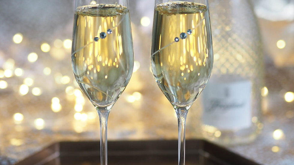 Portmeirion Auris Crystal Clear Champagne Flute Glasses