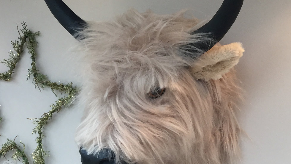 Artificial Highland Cow Decor Wall Mounted Head