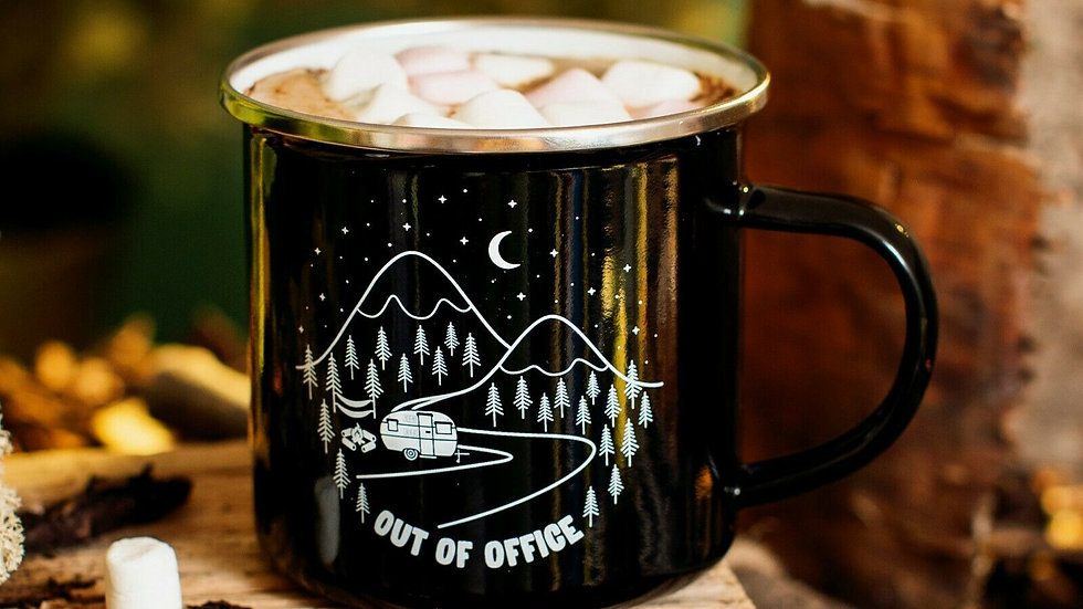 'Out Of The Office' Camping Enamel Tin Mug