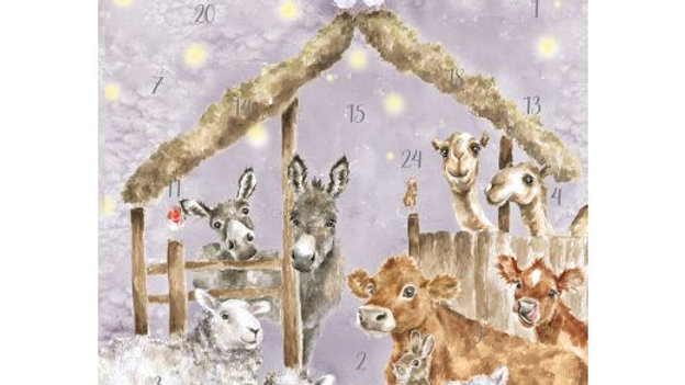 New! Wrendale Design 'Away in A Manger' Traditional A4 Advent Calendar