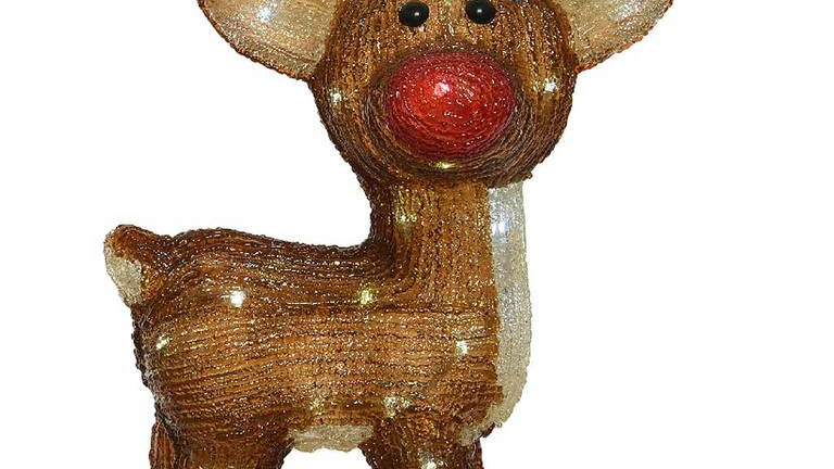 Acrylic Outdoor Led Reindeer Figure Red Nose & Multicoloured Tree Lights Detail