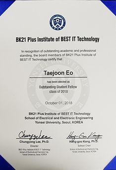 BK21 Plus Institute of BEST IT Technology  Outstanding Student Fellow